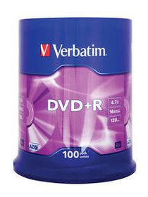 VERBATIM - 4.7GB DVD+R (16X) - MATT SILVER, SPINDLE (PACK OF 100)