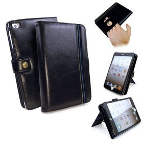 Tuff-Luv Alston Craig Genuine Leather Embrace Pro Case Cover for Apple iPad Mini 4 (Sleep Function) - Black