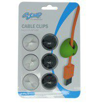 SCOOP Single Hole Cable Clips 6 Pack 3x Black And 3x - White